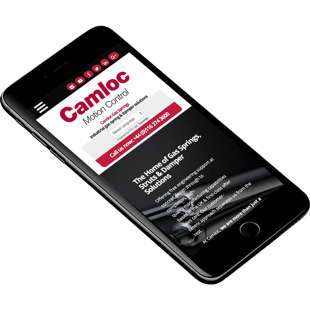 Camloc website displayed on a mobile phone